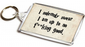 Harry Potter Inspired Jumbo Keyring. Parody Quote. I Solemnly Swear